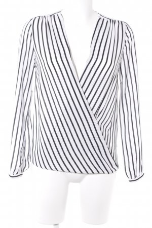 Gina Tricot Wraparound Blouse black-white striped pattern casual look