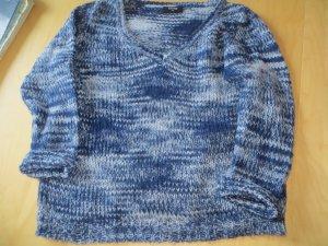 Gina V-Ausscnittpullover Grobstrick blau/ weiß melange Gr. 40