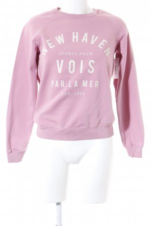 ginatricot Rundhalspullover rosa-creme Motivdruck Casual-Look