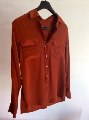Drykorn Zijden blouse donker oranje Zijde