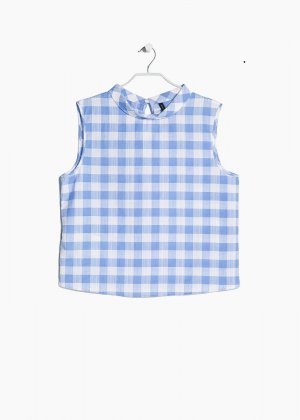 Gingham check top by mango