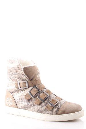 Gino-B Kurzstiefel hellbraun-beige Materialmix-Look