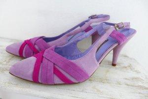 Gino Vaello Leder Slingback Pumps lila violett flieder pink Gr. 41 neu