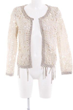 Giorgia & Johns Gilet tricoté beige clair motif floral style hippie