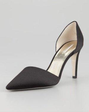 Giorgio ARMANI Pumps Schwarz 37 Satin Schuhe 8cm Absatz High Heels Shoes Black