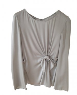 Armani Collezioni Silk Blouse light grey-silver-colored silk