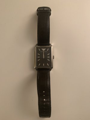 Giorgio  Armani Watch With Leather Strap black-silver-colored