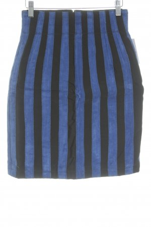 Giorgio Mobiani Leather Skirt black-blue striped pattern party style