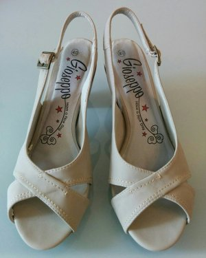 Platform High-Heeled Sandal cream-grey