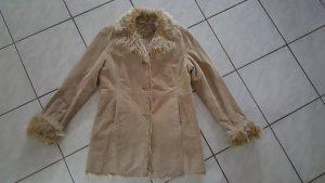 Gipsy Manteau en cuir beige daim