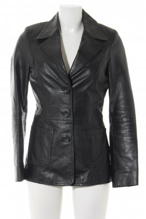 Gipsy Leder-Blazer schwarz Casual-Look