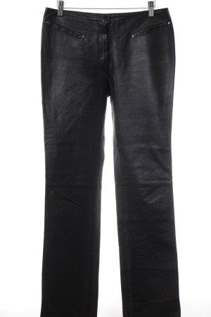 Gipsy Pantalón de cuero negro Estilo ciclista