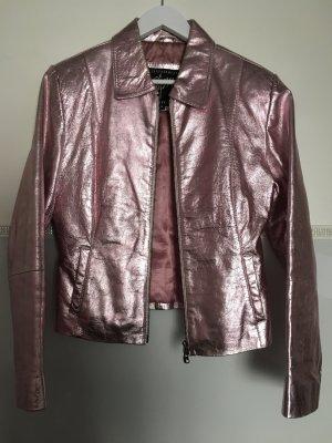 Gipsy Lederjacke Blogger silber rosa metallic edel M