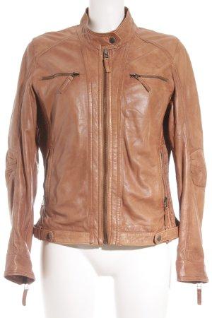 Gipsy Lederjacke braun-cognac Street-Fashion-Look