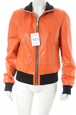 Gipsy Lederjacke orange-schwarz Street-Fashion-Look