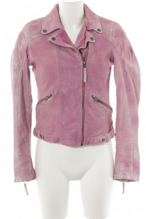 Gipsy Lederjacke rosa Farbverlauf Logoprägung