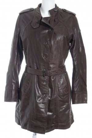 Gipsy Leather Coat dark brown casual look