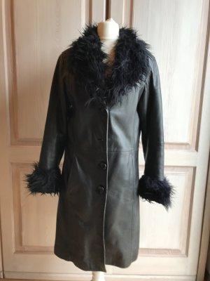 Gipsy Mantel Leder  schwarz echt Vintage Smit Fellkragen Fake