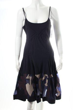 Girbaud Trägerkleid dunkelblau-hellbeige abstraktes Muster extravaganter Stil
