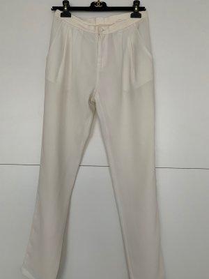 Pantalon à pinces blanc cassé polyester