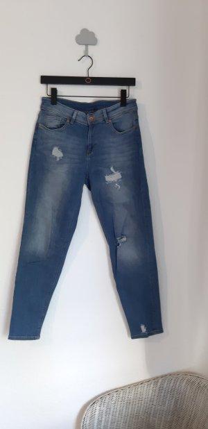 H&M Pantalón de pinza alto azul-azul celeste