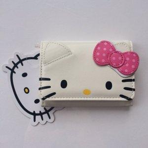 Girly *Hello Kitty* Portmonnaie, Geldbeutel mit Schleifchen in Weiß und Pink
