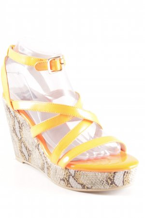 Giudecca Wedge Sandals neon orange animal pattern extravagant style