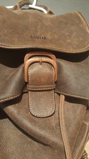 GIULIA Damen Tasche Echter Leder Rucksack Schultasche Braun