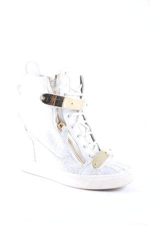 Giuseppe Zanotti Absatz Sneaker weiß-goldfarben Street-Fashion-Look
