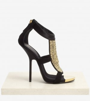 Giuseppe Zanotti Black 'alien' Crystal  High Heel Sandals Pumps Sandaletten
