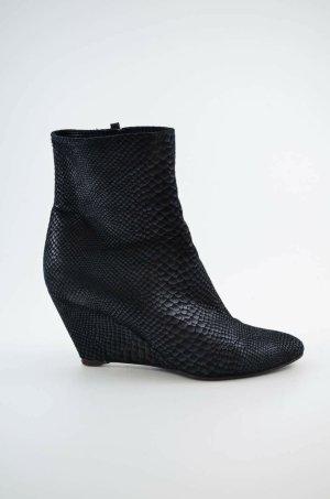 GIUSEPPE ZANOTTI DESIGN Damen Stiefelletten Boots Keilabsatz Schwarz Leder 37,5