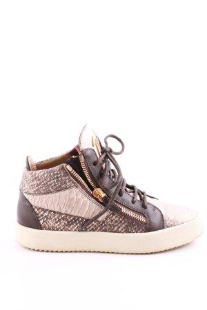 Giuseppe Zanotti High Top Sneaker bronzefarben-wollweiß Animalmuster