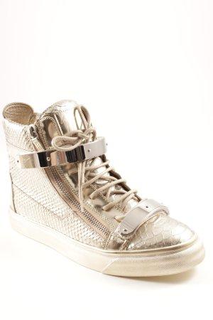 Giuseppe Zanotti High Top Sneaker goldfarben Animalmuster extravaganter Stil