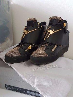 Giuseppe Zanotti High Top Sneaker - Gr. 38,5 - Schwarz + Gold - wie Neu !! OVP - NP.999€
