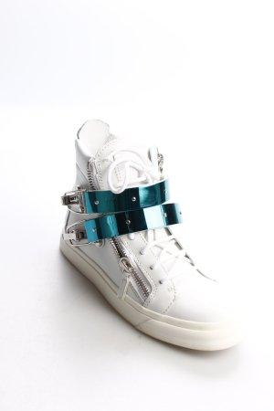 Giuseppe Zanotti High Top Sneaker weiß-türkis extravaganter Stil
