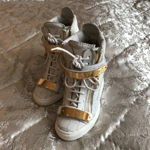Giuseppe Zanotti Plateau Sneaker in Weiß/Gold Gr. 36,5