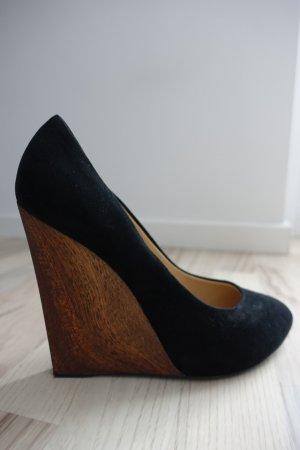 GIUSEPPE ZANOTTI Schuhe, Wedge Heel aus Holz, Rauhleder in schwarz, Gr. 41