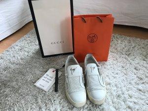 Giuseppe Zanotti Sneaker Leder Weiß Luxus Trainer Mules Slipper