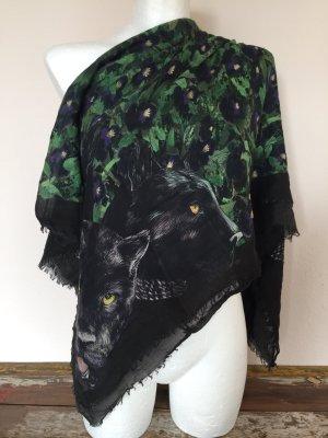 Givenchy Halstuch Tuch Puma, Blumen Motiv Schwarz Baumwolle