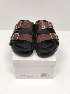 Givenchy Sandalen wie Birkenstock aus Leder mi Glitzer Gr. 41
