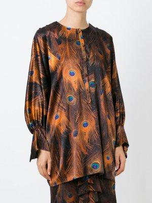 Givenchy Tunika Bluse Braun Seide 34-36 Tunic Blouse Silk Peacock Shirt Top XS-S