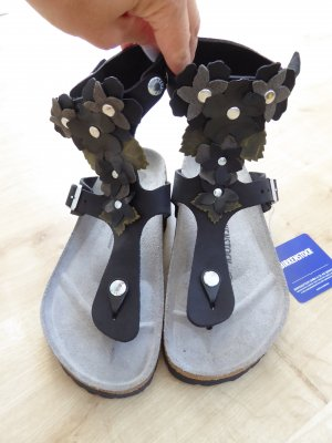 Gizeh High Sandals Natural Leather Luxurious Flowers Black