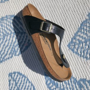 Birkenstock Sandalo toe-post nero-sabbia
