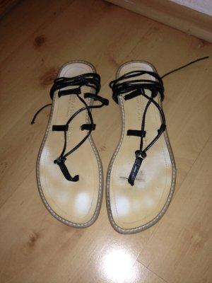 Sandalo romano nero-crema Pelle