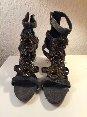High-Heeled Sandals anthracite-silver-colored denim