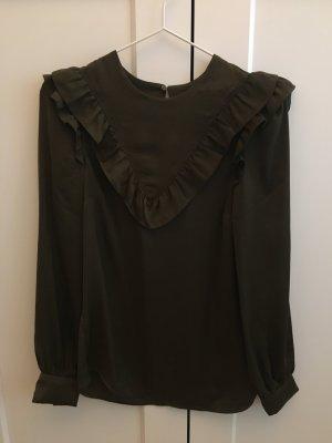 Glänzende Bluse mit Rüschen in Khaki/Oliv