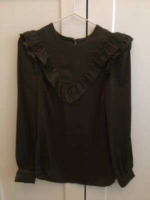 H&M Ruffled Blouse olive green