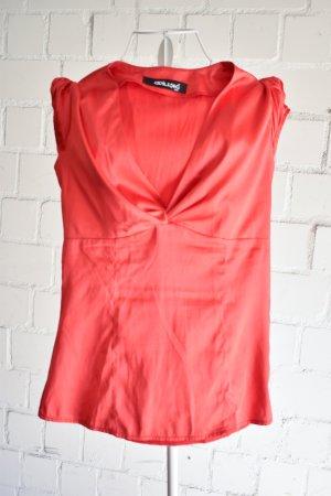 Glänzende Bluse mit V-Ausschnitt