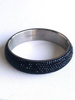 Bangle silver-colored-black stainless steel