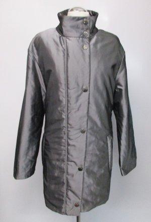 Glänzender Kurzmantel Steppjacke Elegance Paris Größe M 40 Grau Silberfarben Glanz Stehkragen Mantel Jacke Parker